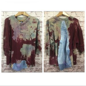 Painted Oyster Upcycled Tiedye Thermal Shirt L XL